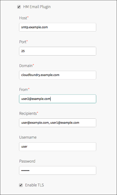 At the top of the image is a selected checkbox labeled 'HM Email Plugin'. Below this checkbox are seven text fields labeled, from top to bottom, 'Host', 'Port', 'Domain', 'From', 'Recipients', 'Username', and 'Password'. The Host field has a red asterisk and contains the text 'smtp.example.com'. The Port field has a red asterisk and contains the text '25'. The Domain field has a red asterisk and contains the text 'cloudfoundry.example.com'. The From field has a red asterisk and contains the text 'user2@example.com'. The Recipients field has a red asterisk and contains the text 'user@example.com, user1@example.com'. The Username field contains the text 'user'. The Password field contains eight asterisks.