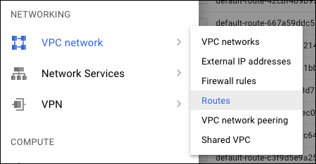 Screenshot of the Networking menu. The menu includes these options: VPC network, Network Services, VPN.