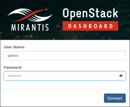 Login screen shows red and white banner with the 'Mirantis' logo to the left of 'OpenStack Dashboard.'