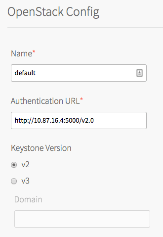 At the top of the image is the header 'OpenStack Config', underneath which is a horizontal line. Below the line are two text fields labeled 'Name' and 'Authentication URL', both with red asterisks to denote that they are required fields. The Name field contains the text 'default'. The Authentication URL field contains the text 'http://10.87.16.4:5000/v2.0'. Below the Authentication URL field are the words 'Keystone Version', below which are two options: a selected radio button labeled 'v2', and a radio button labeled 'v3'. Below these buttons is a grayed-out text field labeled 'Domain'.
