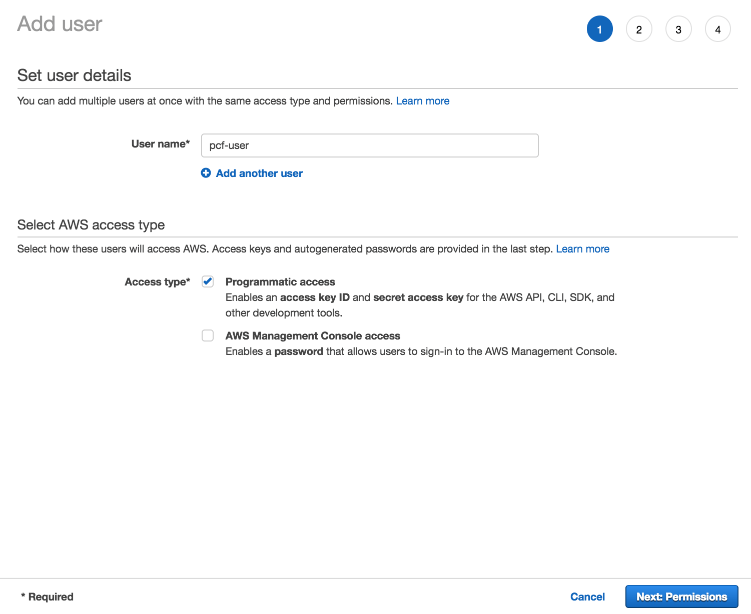 Screenshot of IAM configuration page 1. The page is titled 'Add user'. It has two sections: 'Set User details' and 'Select AWS access type'.
