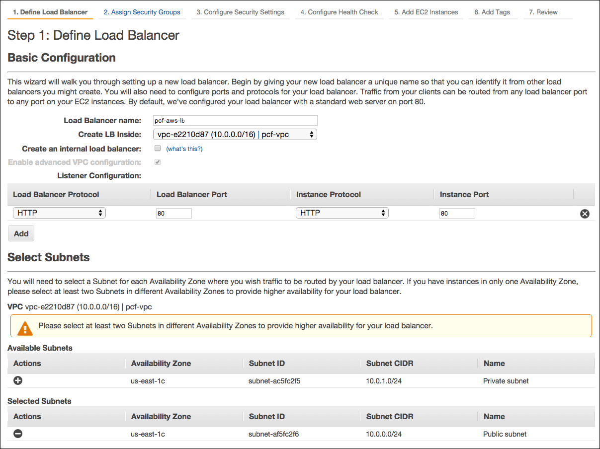 Screenshot of the Load Balancer page titled 'Step 1: Define Load Balancer'. The page has two sections: 'Basic Configuration' and 'Select Subnets'.