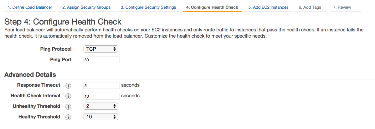 Screenshot of the Load Balancer dialog. The page is titled 'Step 4: Configure Health Check'. The page has an 'Advanced Details' section.