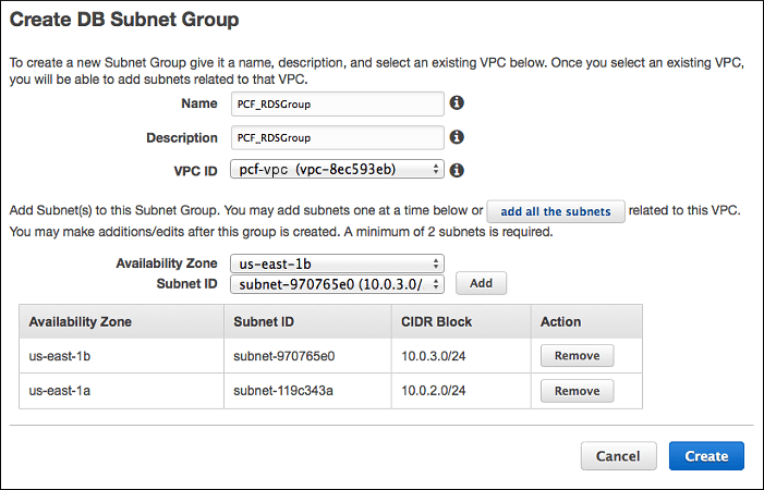 Rds pcf subnet group