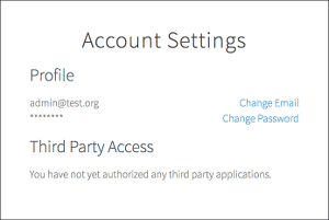 This example 'Account Settings' page shows           two subheadings titled 'Profile' and 'Third Party Access'. Under 'Profile' is an email 'admin@test.org' and an obscured password using asterisks. The email and   password have two corresponding links to the right: 'Change Email' and 'Change Password'. Under 'Third Party Access' is a paragraph that says 'You have not yet authorized any third party applications.'