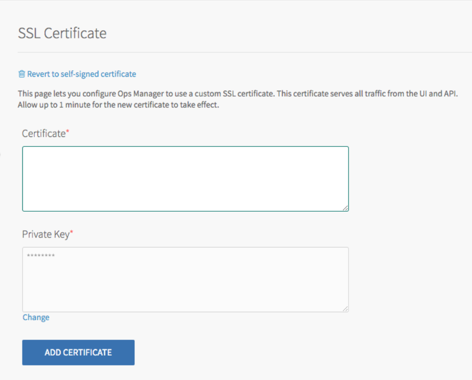 The 'Settings' page shows the 'SSL       Certificate' pane highlighted on the left-hand tabular layout to indicate selection. The body shows a header titled 'SSL Certificate' with an option to 'Revert to self-signed certificate' followed by help text and two required fields: 'Certificate' and 'Private key'. The 'Add Certificate' button is at the bottom of the body.