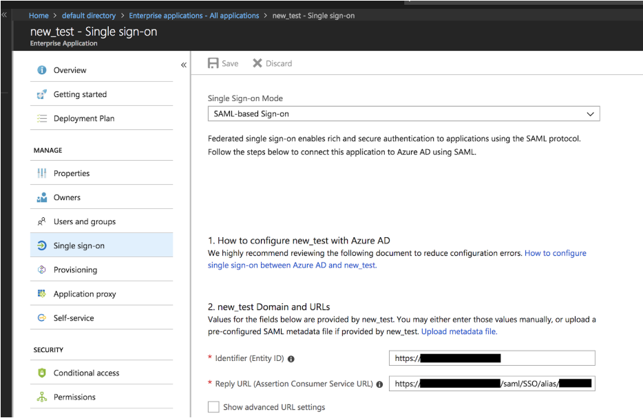 Configuring Azure Active Directory as a SAML Identity