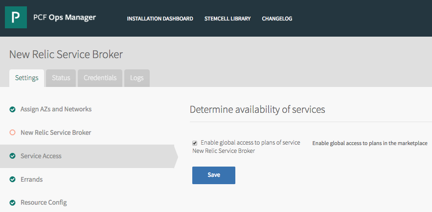 New Relic Service Broker for PCF | Pivotal Partner Docs