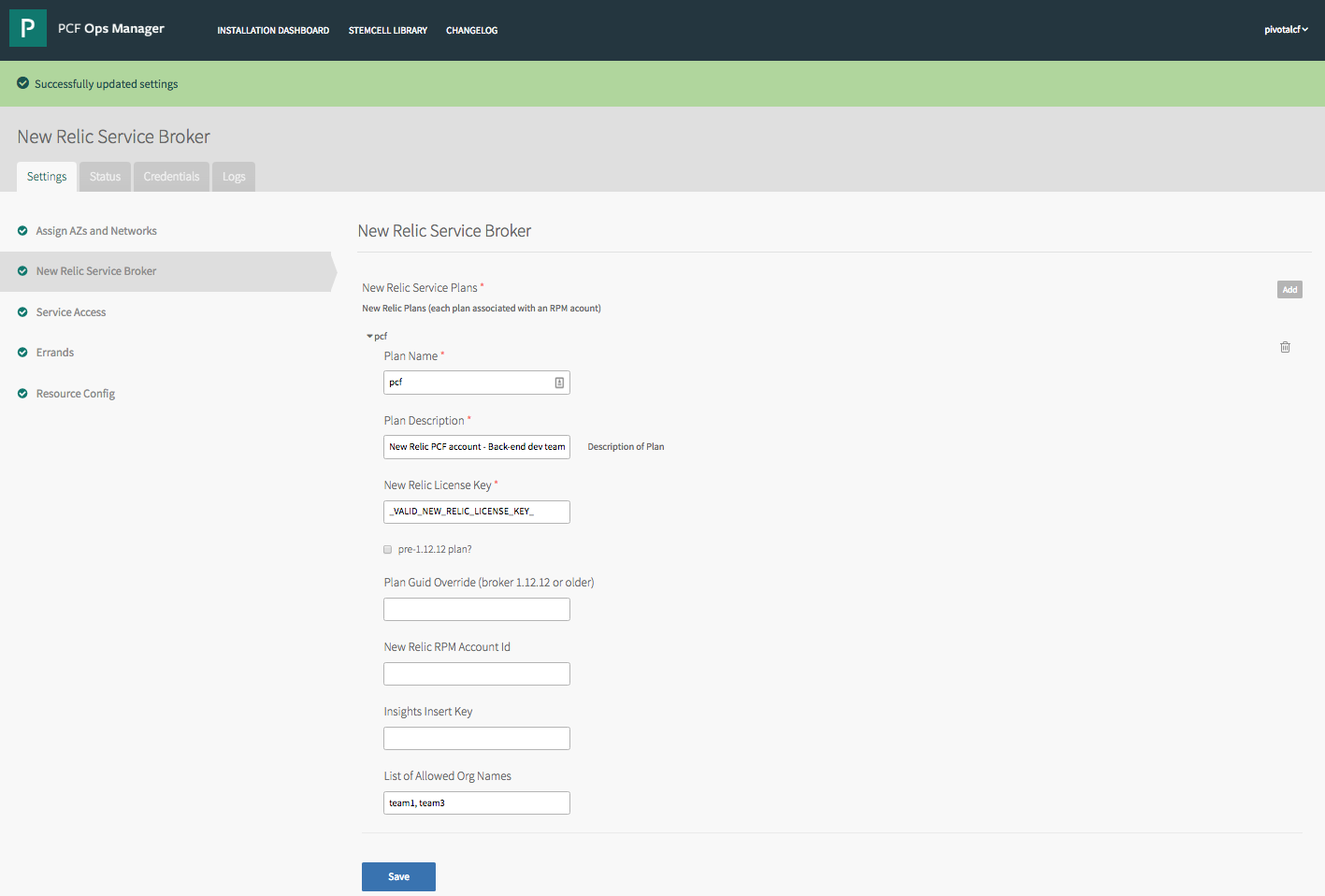 New Relic Service Broker for PCF   Pivotal Partner Docs