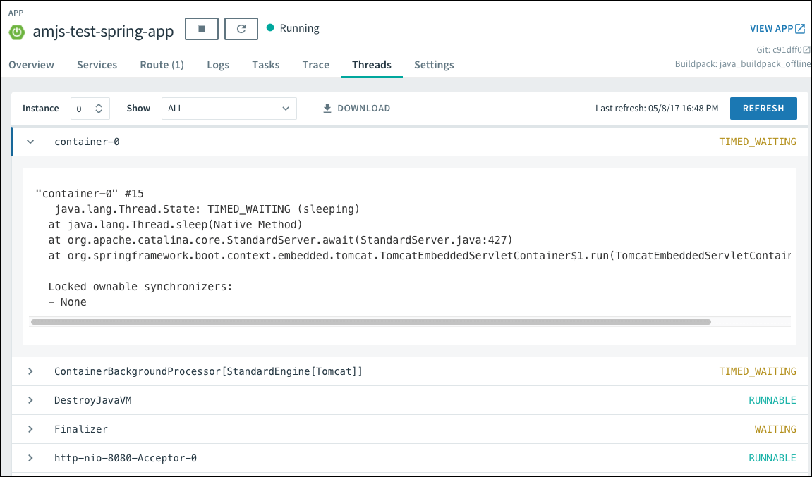 Using Spring Boot Actuators With Apps Manager Pivotal Docs