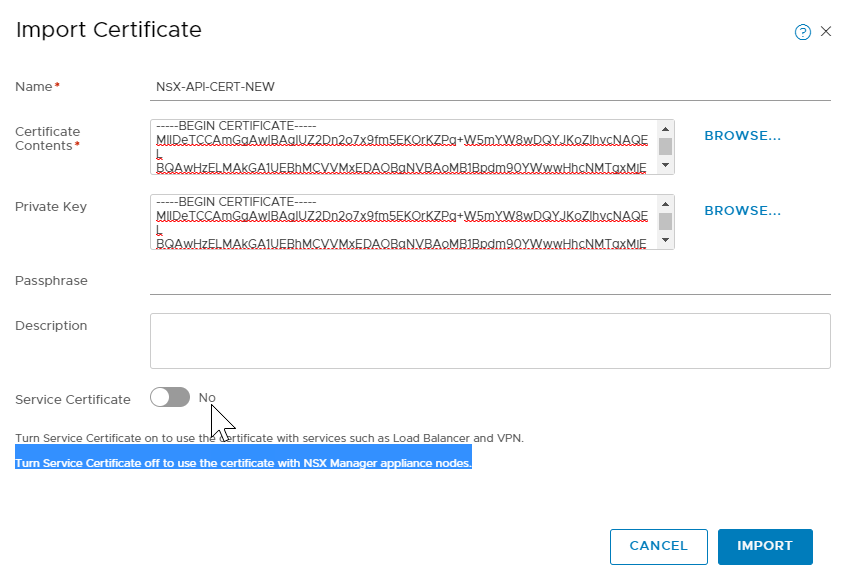 Generating and Registering the NSX Manager Cluster