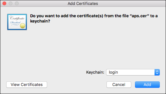 Add cert to Keychain
