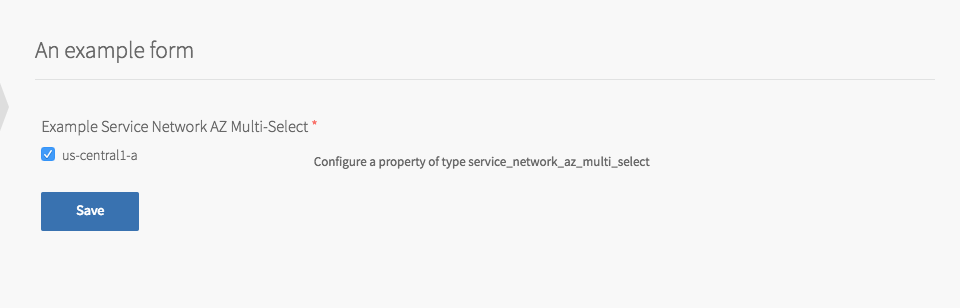 Example Product with Service Network AZ Multi-Select