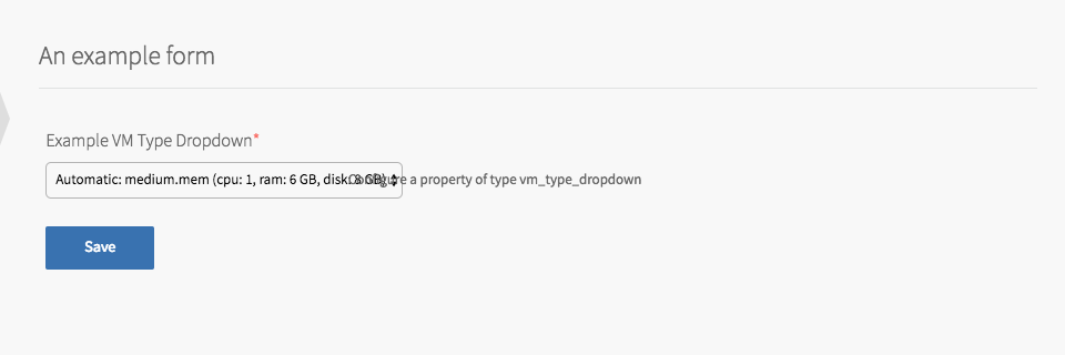 Example Product with VM Types Dropdown