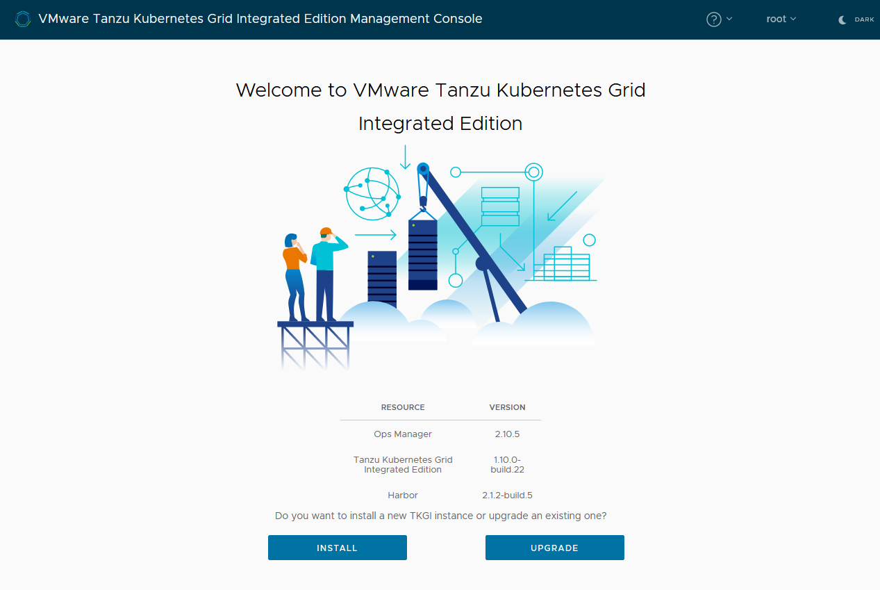 Management console welcome page
