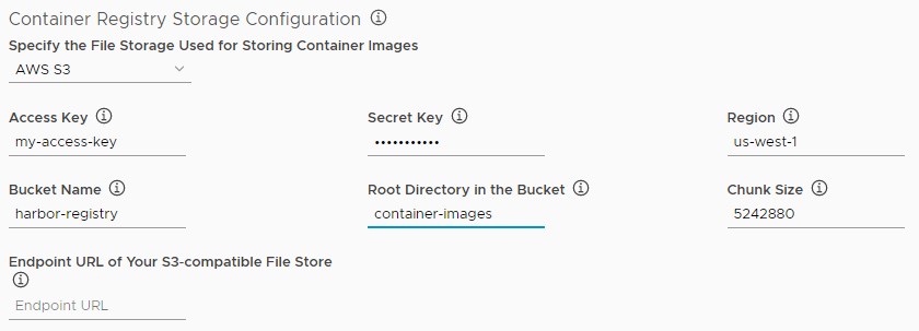 Configure AWS storage for Harbor registry