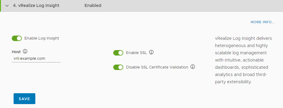 Configure integration with vRealize Log Insight