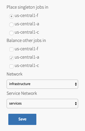 Assign AZs and Networks pane in Ops Manager