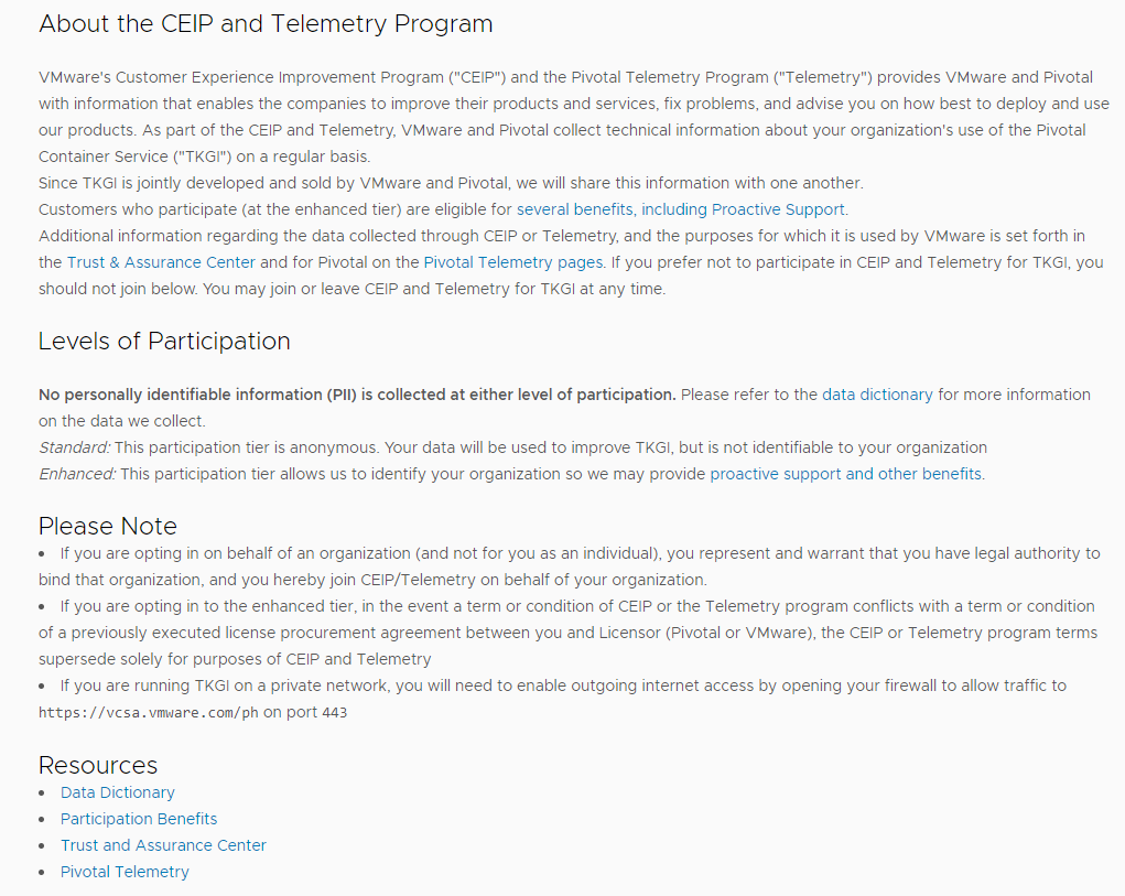 CEIP and Telemetry program description