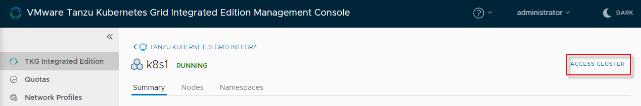 Connect to a cluster in K8S Dashboard