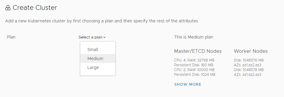 Select plan for cluster