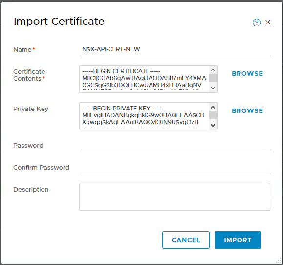 Import the NSX Manager CA certificate to the NSX Manager